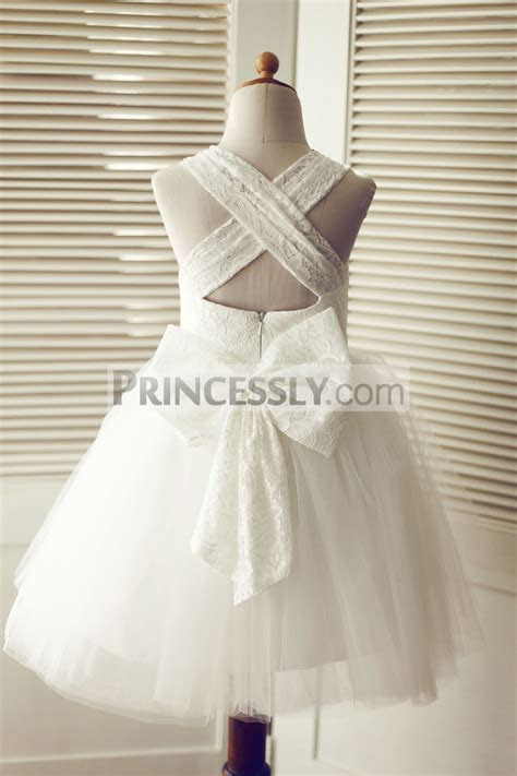 Cross Backless Ivory Lace Tulle Wedding Flower Girl Dress
