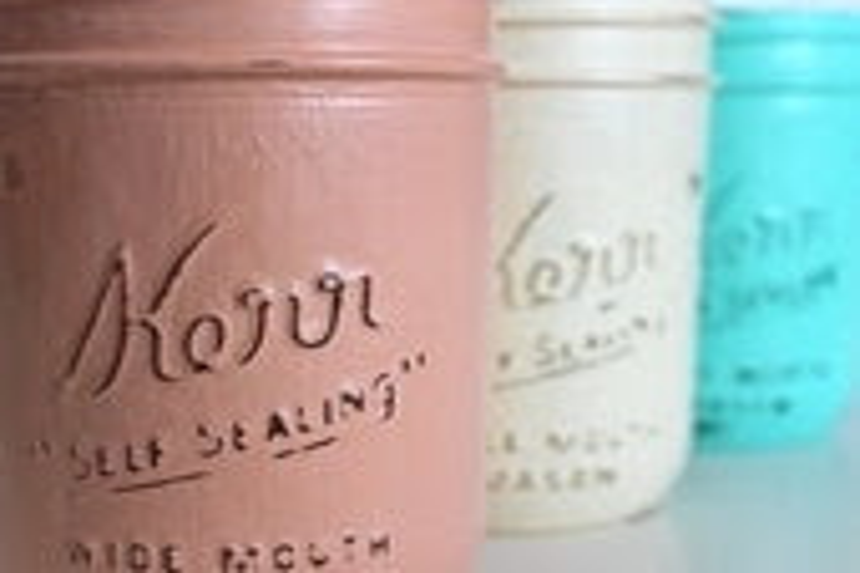 Set of 3 Painted Mason Jar Vases:  Peach, Mint, and Ivory