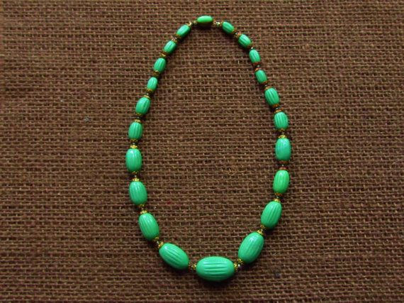 Carved Czech glass bead necklace
