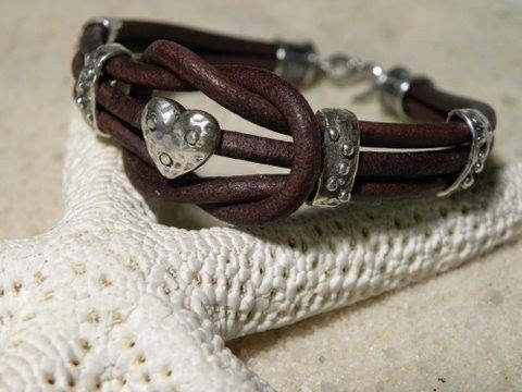 Love knot with a heart bracelet