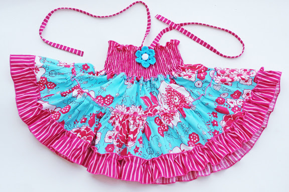 smaller sizes dress/pink and turquoise