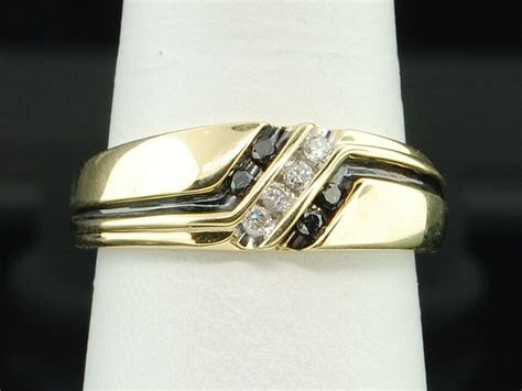 mens  yellow gold  stone black white diamond