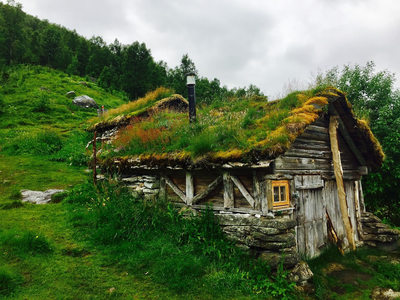 "Sunken cabin in Homlongsætra, Norway Submitted by Joseph Johnston ""I took this photo on a Geiranger Fjord hike in Norway. We took a Fjord cruise that dropped us off at the trail on the way back. We hiked up the cliff to a couple farms at Skageflå and..."