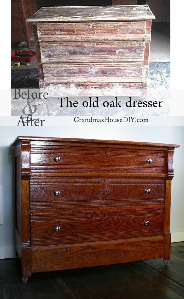 Before and after of an oak dresser @GrandmasHousDIY