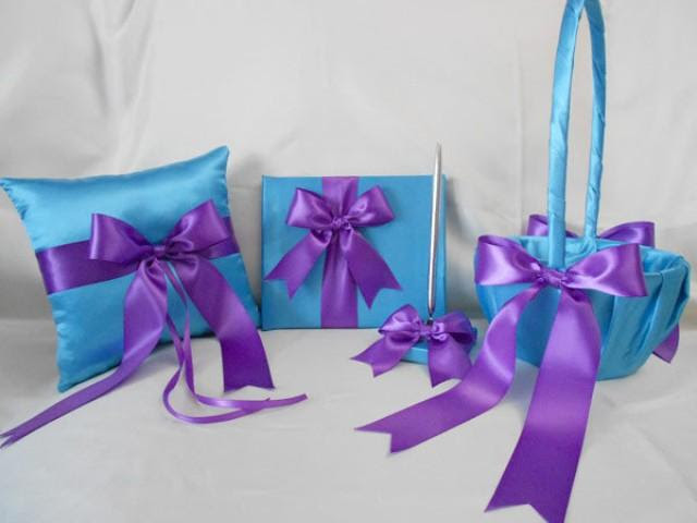 Wedding Accessories Turquoise Purple Flower Girl Basket Ring Pillow