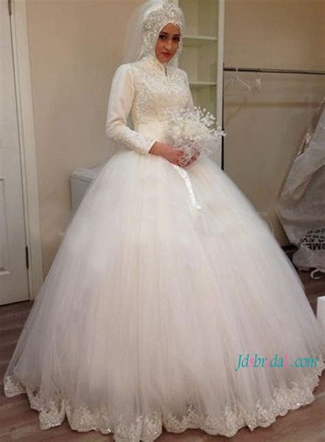 Islamic high neck long sleeves tulle ball gown wedding