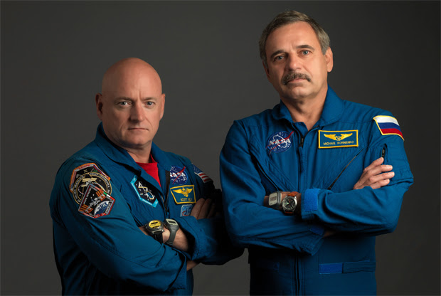 Scott Kelly (left) and Mikhail Kornienko will launch in March 2015 on a one-year mission on the International Space Station. Credit: NASA