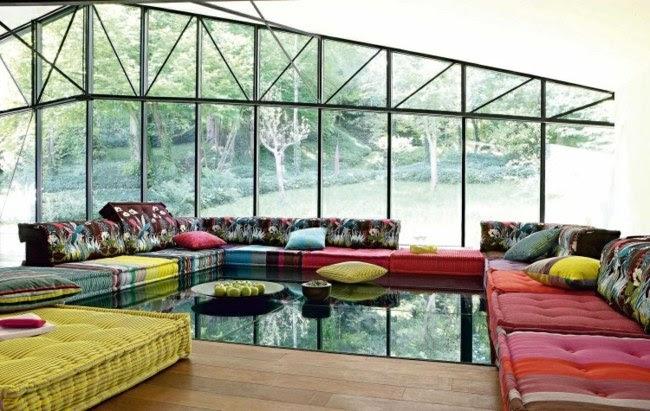 Wohnzimmer Deko Strickware Teppich beige grün grau
