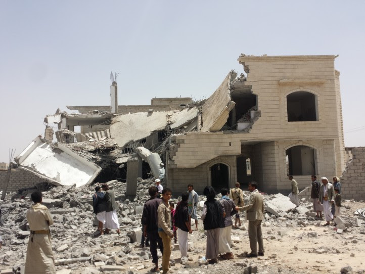 House destroyed by aerial bombing in Yemen.