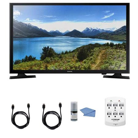 Samsung UN32J4000 - 32-Inch LED HDTV J4000 Series + Hookup Kit - Includes TV, 6 Outlet Wall Tap Surge Protector with Dual 2.1A USB Ports, HDMI Cable 6' and Performance TV\/LCD Screen Cleaning Kit