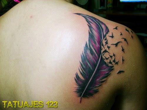 Pluma En Color Malva Tatuajes 123