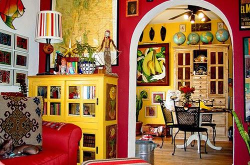 Mexican Living Room With Yellow Walls And Unique ...