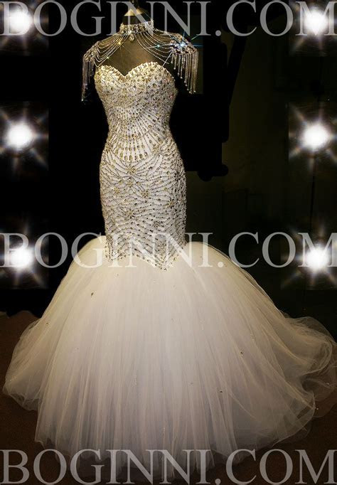 Mermaid Wedding Dresses with Crystals   GRAND ROYAL WHITE