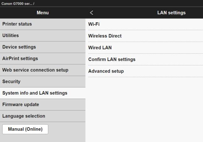 La interfaz de configuración basada en web de una impresora inalámbrica