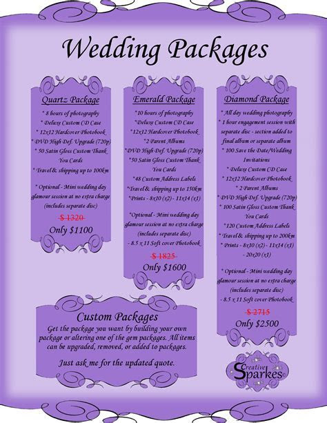 Wedding Package Names   Wedding Ideas