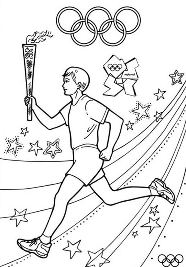 Olympic Games About to Start Once Olympic Torch Light Coloring Page