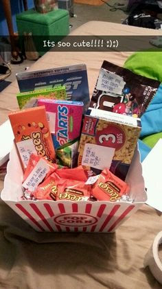 Boyfriend Christmas gift idea! :) a gift basket full of candy and add ...