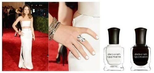 Olivia Wilde wearing Deborah Lippmann Nail Polish in Amazing Grace