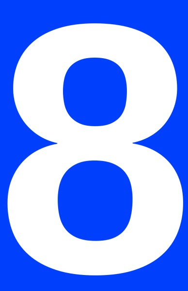 This picture shows a white number 8 inside a rectangle.