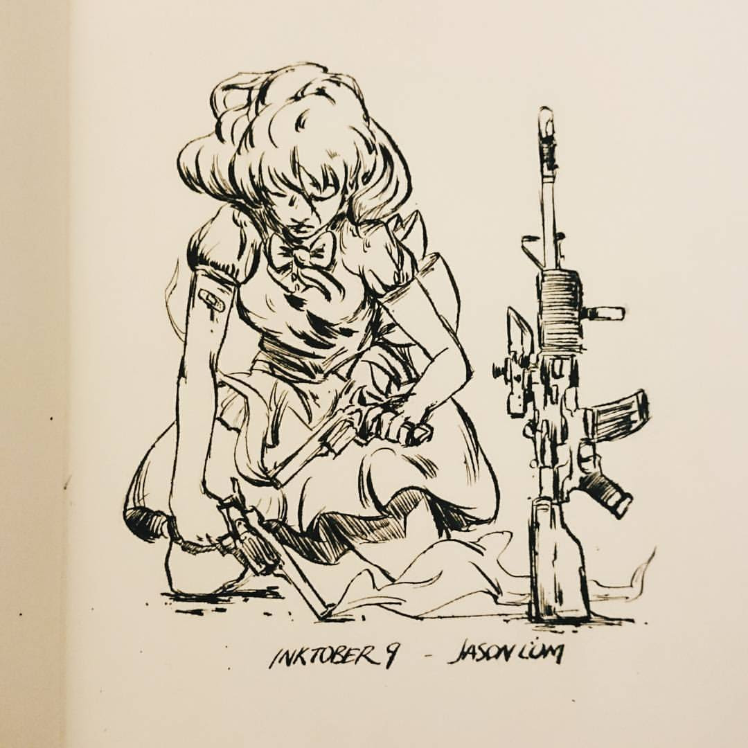 Inktober 9. Quick Before bed. #ink #inktober #art #artistsoninstagram #girl #guns #m4 #drawing #sketch #sketchbook #sober