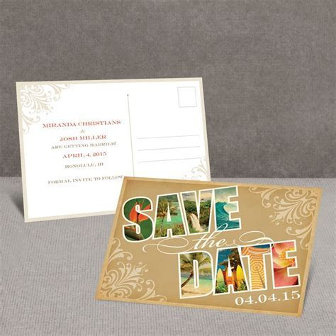 Souvenir Tropical Save the Date Postcard   Invitations By Dawn