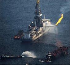 Drill ship over Gulf oil spill