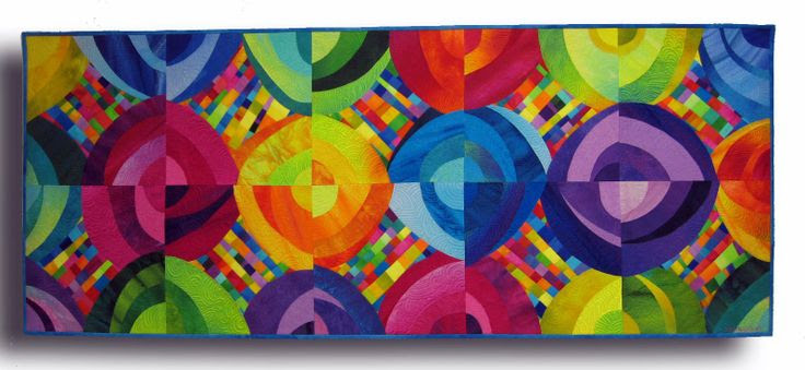 """Ringscycle ll, hand dyed cottons and silks, fused, machine quilted. 53.5x22"""" $1000"""