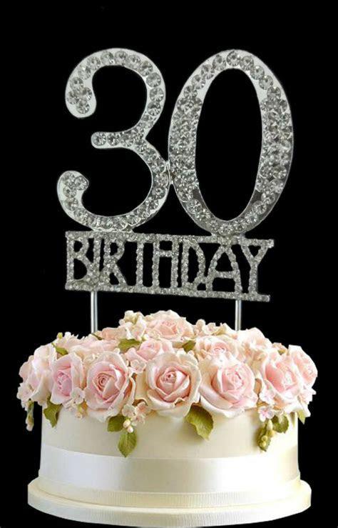 Crystal Monogran Happy 30th Birthday Cake Topper
