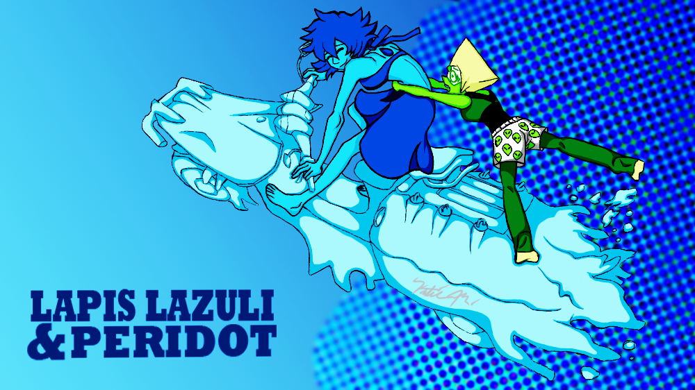 FINALLY DONE. THE COLORING, THE LINE-ART, THE POSE. This really took a while to draw and edit. Enjoy Lapidot & Shipping. Or LAPIS LAZULI & PERIDOT. Ow. My aching hand. now I can come up with a shit...