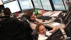 Frankfurt stock exchange traders - file pic