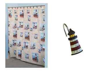 Lighthouse Nautical Bathroom Shower Curtain 12 Hooks Set New Light