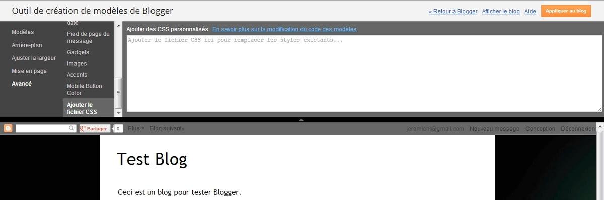 Si nécessaire ajouter quelques lignes de code CSS.