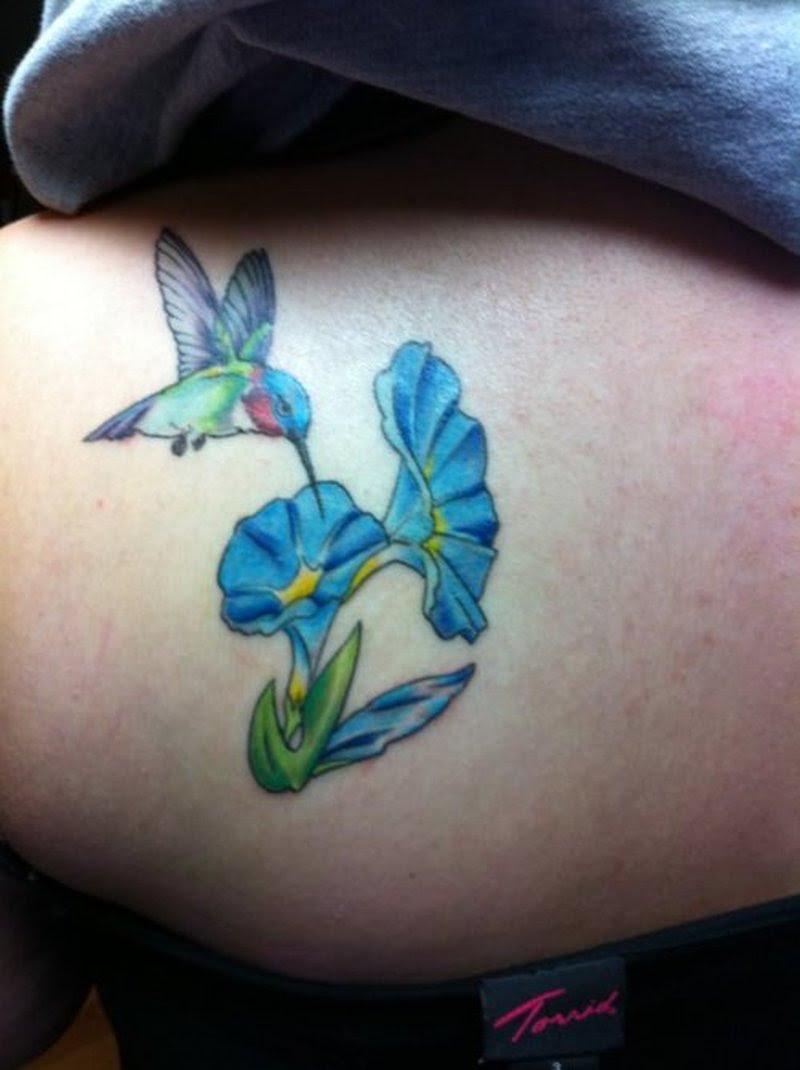 Small Hummingbird With Blue Flowers Tattoo Design Tattoos Book