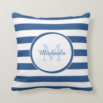 Trendy Blue and White Stripes Monogram With Name Throw Pillows