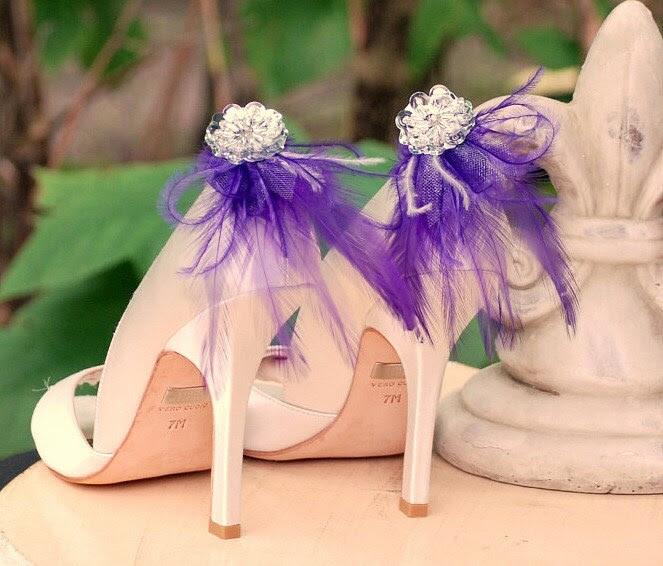 Shoe Clips Royal Purple Feathers Silver Sequins Bride Bridal Bridesmaid