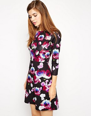 Image 1 of ASOS A-Line Scuba Dress with Long Sleeves in Petal Floral