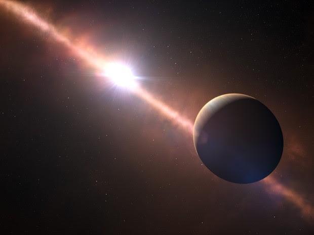 Concepção artística mostra planeta Beta Pictoris b orbitando ao redor de sua estrela (Foto: AFP Photo / ESO - L. Calcada / N. Risinger)