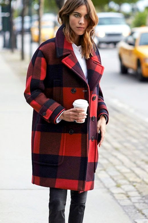Le Fashion Blog Alexa Chung Buffalo Plaid Coat Moto Leather Pants Via Tommy