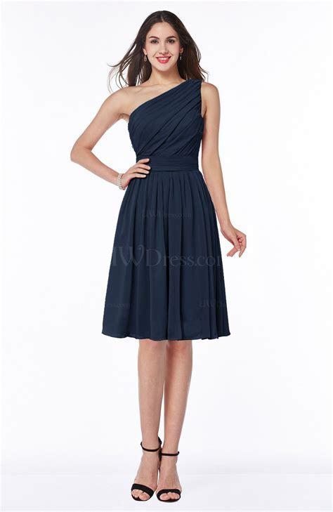 Navy Blue Simple A line One Shoulder Chiffon Knee Length