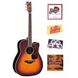 Yamaha FGX730SC Solid Top Cutaway Acoustic-Electric Guitar Bundle with Instructional DVD, Strings, Pick Card,...