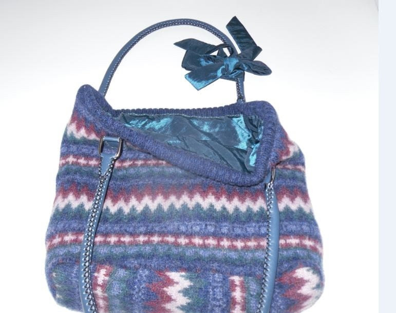 UpCycled - Handmade bright & colourful felted wool shoulder bag
