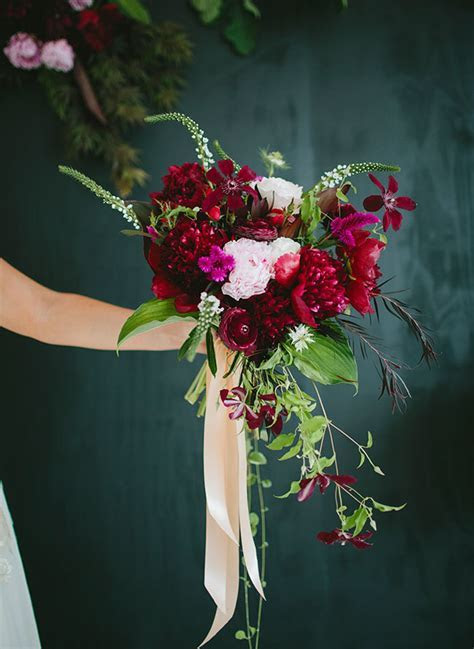 Berry hued Botanical Wedding Inspiration   Green Wedding