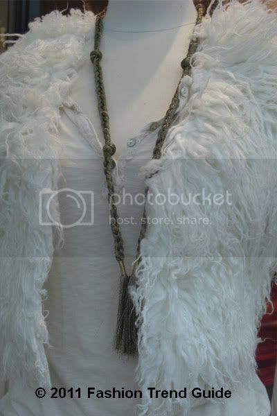 shaggy white faux fur vest
