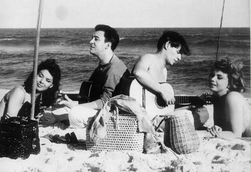 Sylvia Koscina, João Gilberto, Tom Jobim e Mylene Demongeot