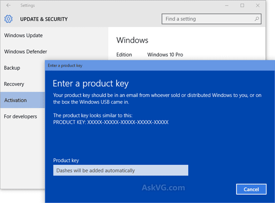 Manually activate Windows 10 you can use the key on the ...