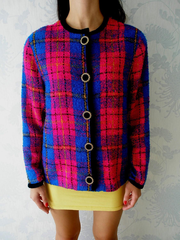 Tartan Plaid Jacket Classic Multi Colored Vintage 80s