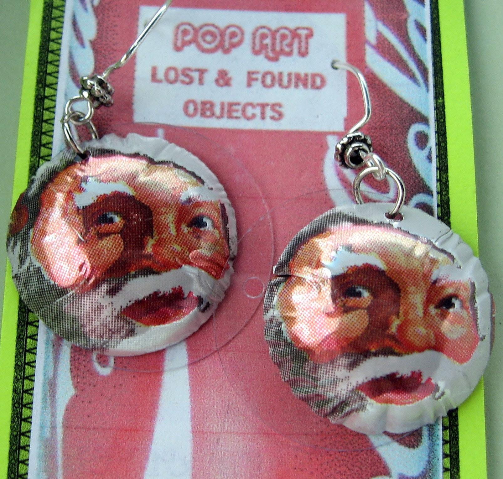 jolly ole st nick pop art earrings