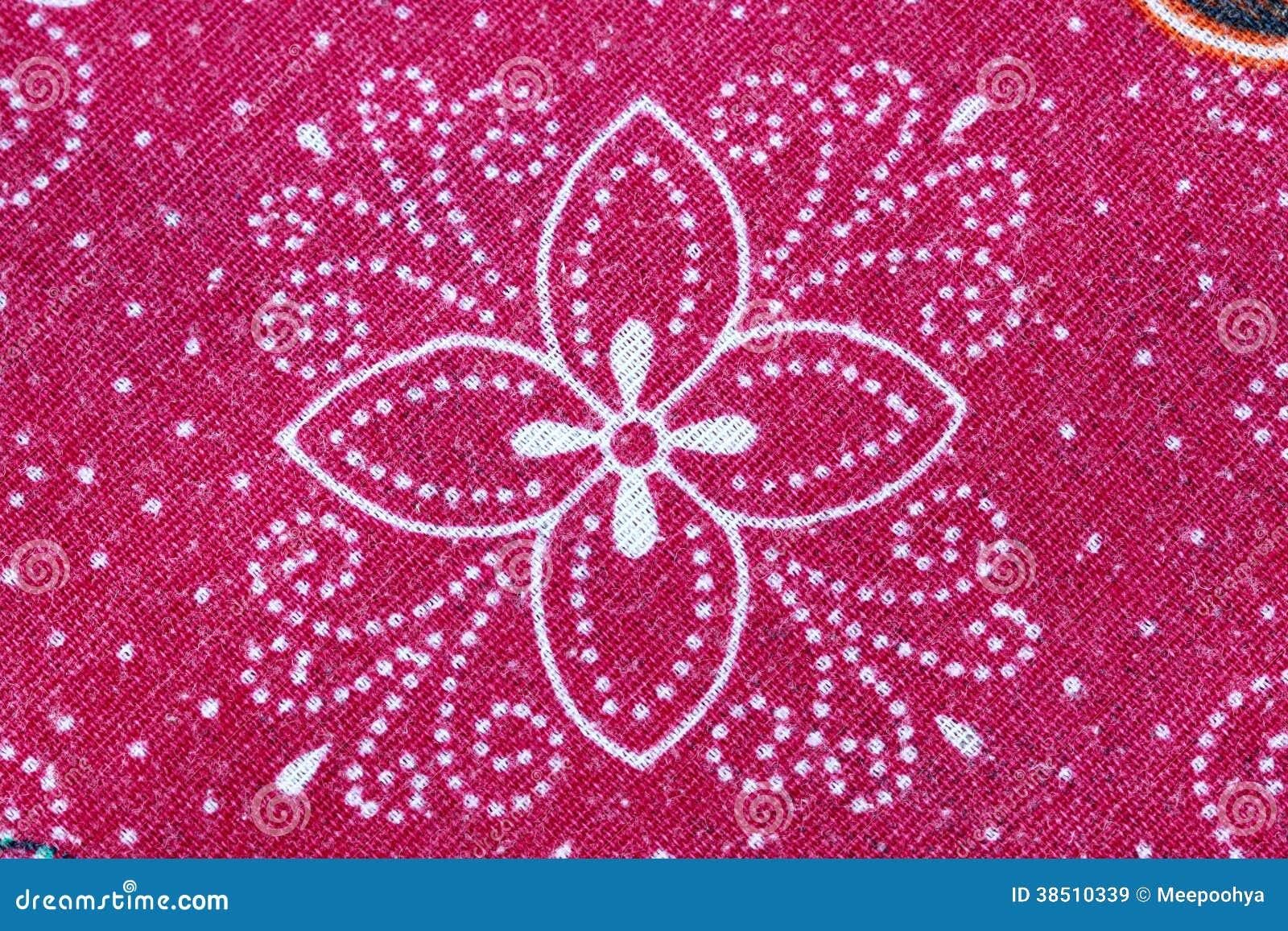 Thai Batik Sarong Of Red Flower Pattern Royalty Free