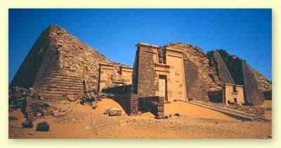 Pyramids of Meroe with their pylon-like Chapel Entrances