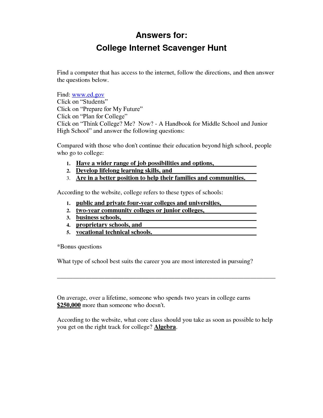 31 Internet Scavenger Hunt Worksheet - Worksheet Resource ...